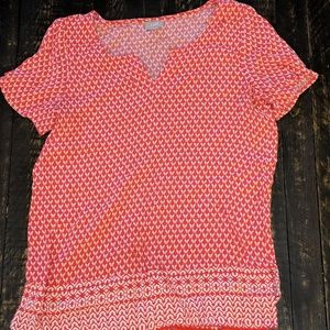 J. Jill Short Sleeve Pink and White Top